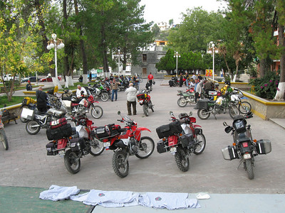 Galeana plaza on Saturday morning.  This was the last morning of the event and most riders were busy packing up to go.