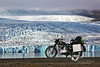 The Royal Enfield in front of Vatnajökull glacier.