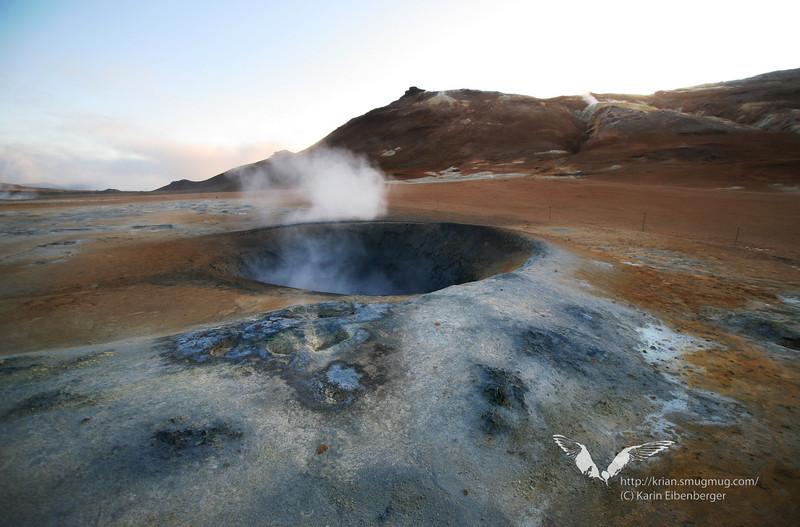 At Námaskarð at the hot mud pots.