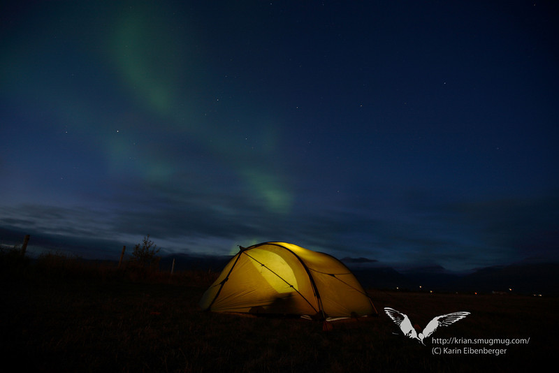 Our tent under northern lights.