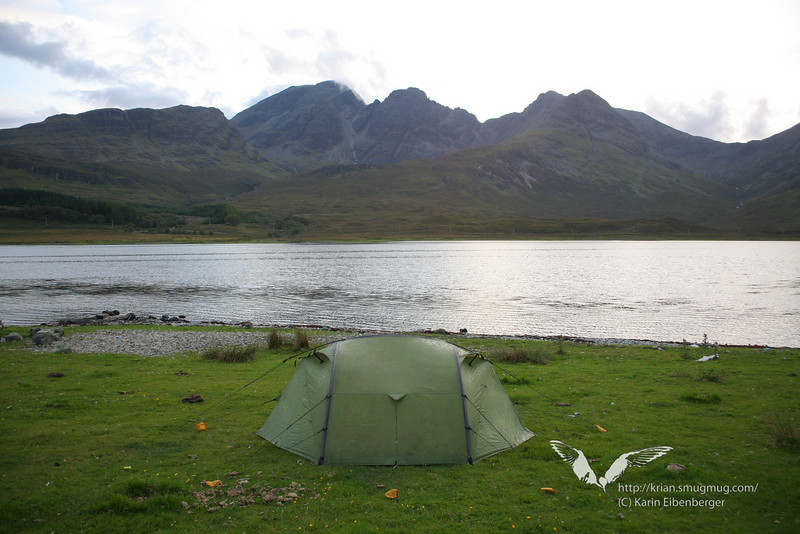 Our tent on the Isle of Skye, the Cuilin Hills in the background.