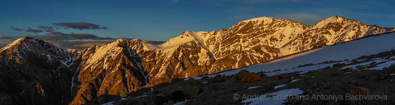 Morning light on Manakau (centre right) above our campsite.
