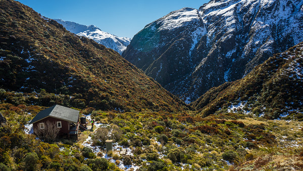 Goat Pass Hut and the start of the Deception Valley.