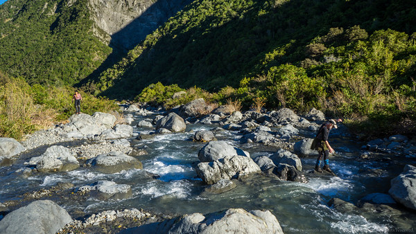 Crossing the Kowhai River just before the hut.