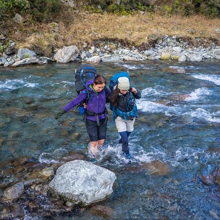 Natasha and Toni cross Burnet Stream.