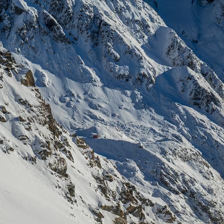 Barker Hut far below.