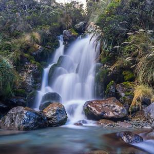 A side creek cascades into Burnet Stream.