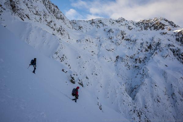 Descending back to the head of Burnet Stream.