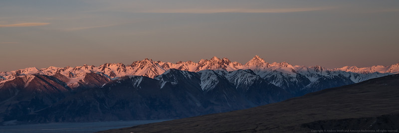 Dawn on the Two Thumb Range. Alma (2510m) is the pyramid centre right.
