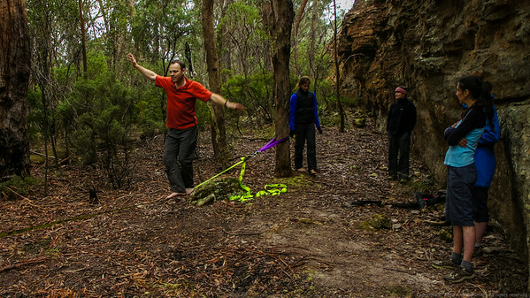 When we get to camp, Rich pulls out his (5kg!!!) slack line!  We spend hours trying to master it.