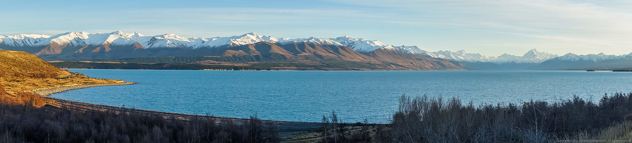 The spectacular panorama across Lake Pukaki towards Mt Cook.
