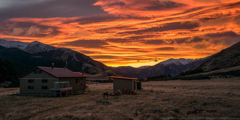 A spectacular sunrise at Anne Hut.