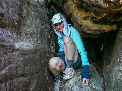 Descending Meakins Pass through a squeeze.