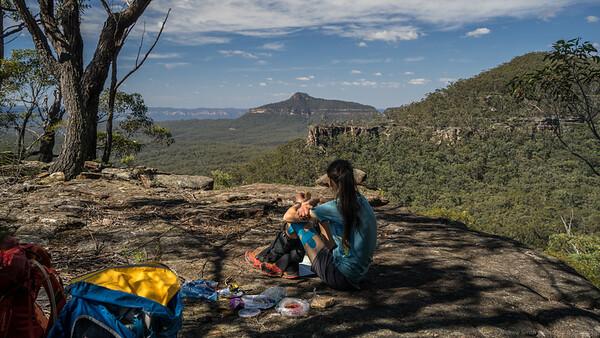 Lunch on Mount Marrup above Tonalli Gap looking towards Yerranderie Peak.