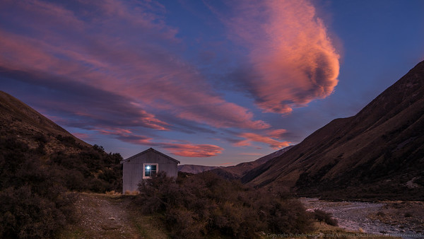A stunning sunset at the hut.