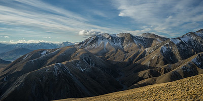 Steepface Hill (centre right) on the end of the Mt Hutt Range.