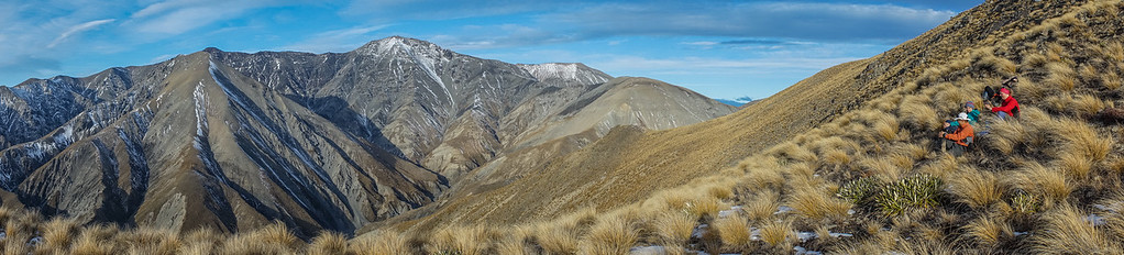 Enjoying the views across to Mount Hutt (2185m).