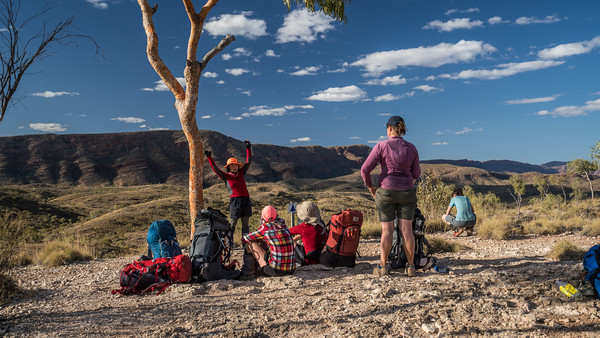 A break at a lookout before Ormiston Gorge.