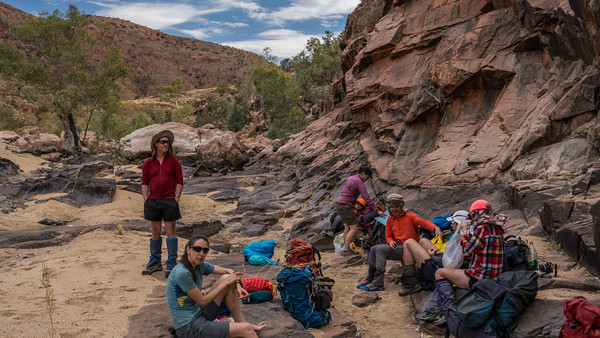 Lunch in the cool of a rock cliff at Bowmans Gap.
