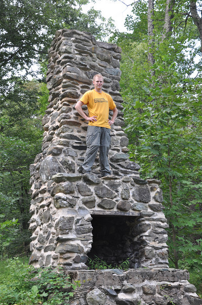 """The famous """"outdoor fireplace"""" at Camp Hoover."""