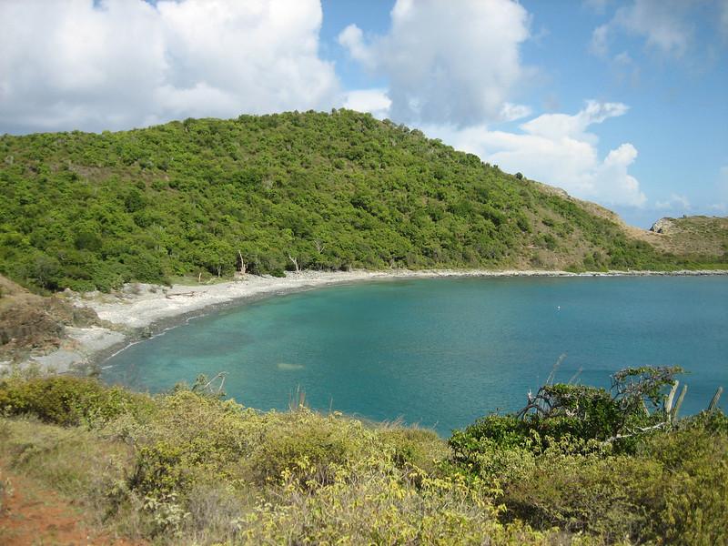 blue cobblestone beach view from Ram Head Trail