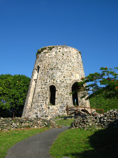 Remains of the windmill at the Annaberg ruins.