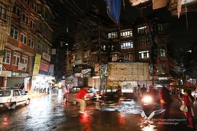 A rainy street in Thamel, Kathmandu.