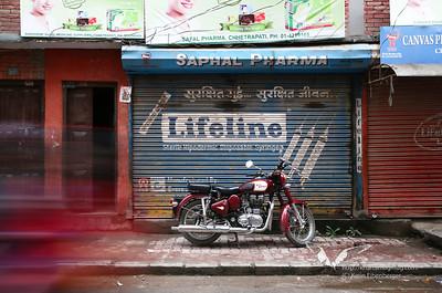A Royal Enfield motorbike in Thamel, Kathmandu.