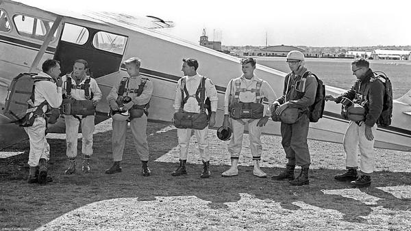 Merv Wards De-Havilland Domonie  VH-BIF ready to load at Archerfield Aerodrome (grass strip) Brisbane for a flight to drop at Redbank Plains near Ipswich.
