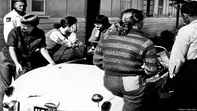 Left: Bobby: Brenda: Kay England. Austin Healey Sprite at Northern Star School of Parachuting.