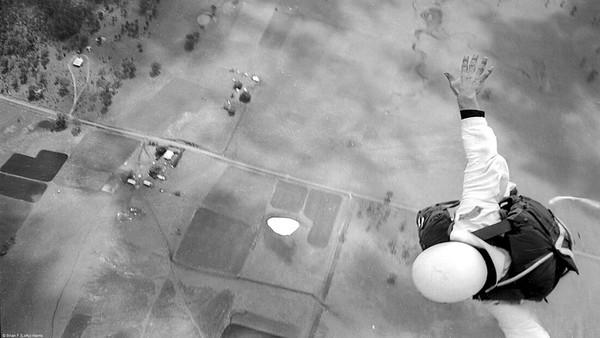 Qld Parachute Club shoulder patch on static line jumper
