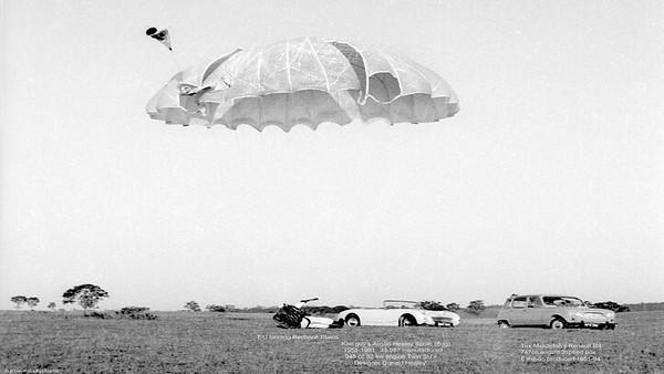 T U (modified full canopy of rip-stop nylon) landing at Redbank Plains D Z.