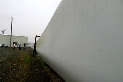 I'm standing at the base of a 125 foot long fiberglass turbine blade looking towards the tip. These things are BIG.