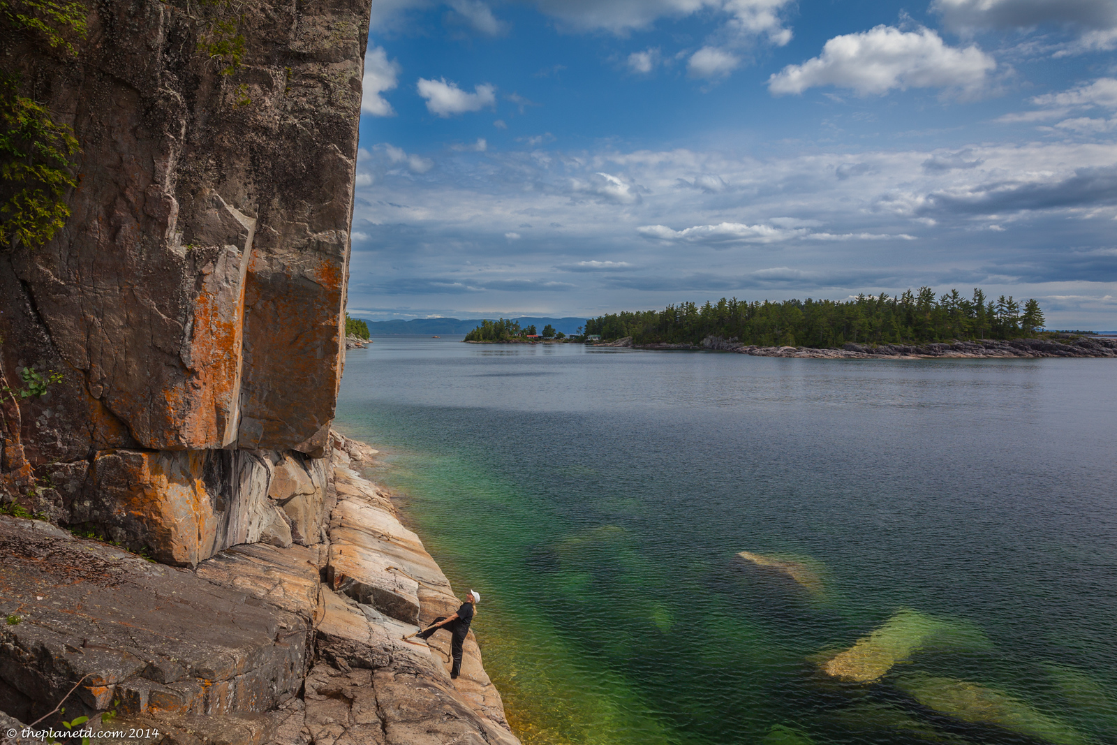 Taking in the Petroglyphs on the North Shore of Lake Superior on our Motorcycle trip.