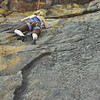Sarah working her way up the rock face
