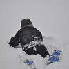Sarah falling down the hill during the first storm.  Probably about 2 feet of snow around the NIH campus