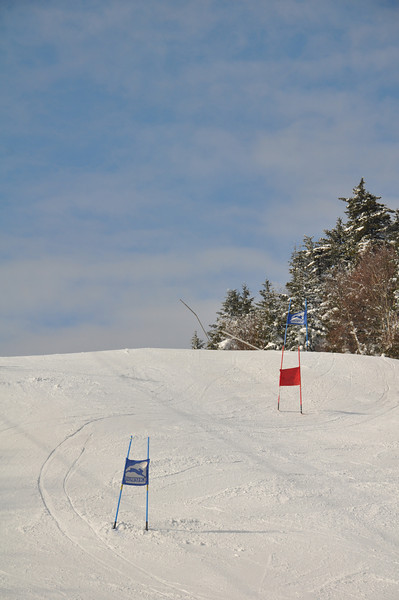 The top of the ski racing course on Sunday morning