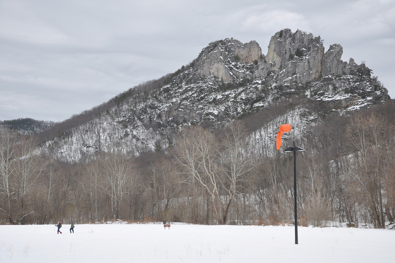"Seneca Rocks from the lower parking lot, just past the sign that says ""Danger, Flooding""...just not today"