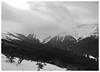 Republic Peak (hidden in clouds) as seen from Woody Ridge, facing West.