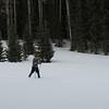Elena gliding through the snow.