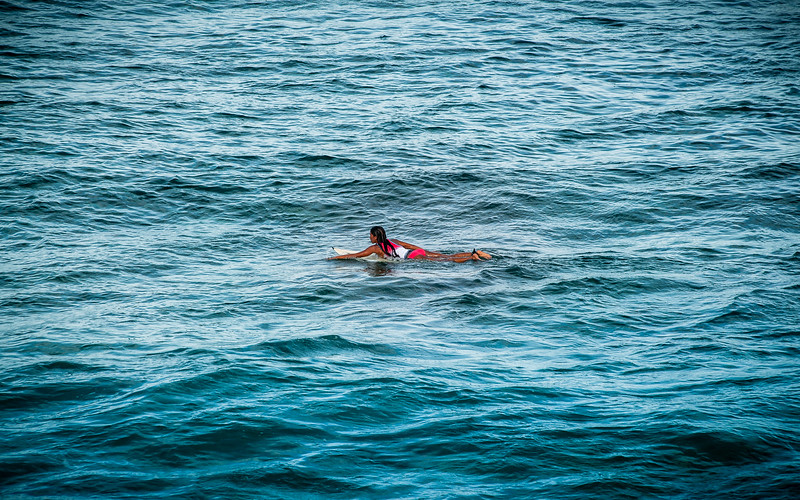 Fighting the rips, Surfing girl, Pacifico, Siargao Island, Philippines 2014