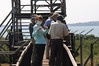 Sarah on the cat walk over looking the chimp feeding area at Ngamba Island in Lake Victoria.