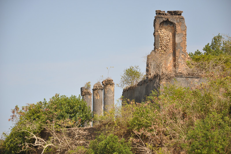 The three prominent stone pillars of the old fort.
