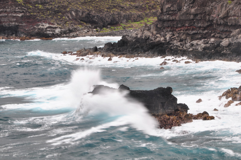 Near the Nakalele Blow Hole the waves were crashing into the old lava flows.