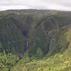 These are the  waterfalls of Molaka'i from a distance.