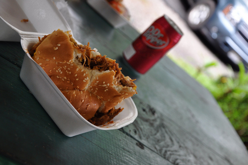 Food shack along the way had excellent pulled pork sandwiches