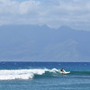 Surfing on Ka'anapali with Molaka'i in the background