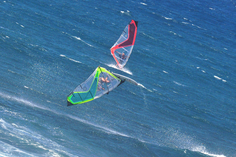 The woman completed a front flip here, and was by far the most entertaining windsurfer out there.