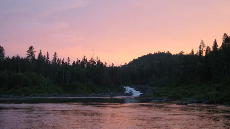 Allagash Falls at sunset from our downstream camp. We decided after a full day of rainy weather that we should head out down the river as soon as the rain stopped.  That just happened to be about 8pm.