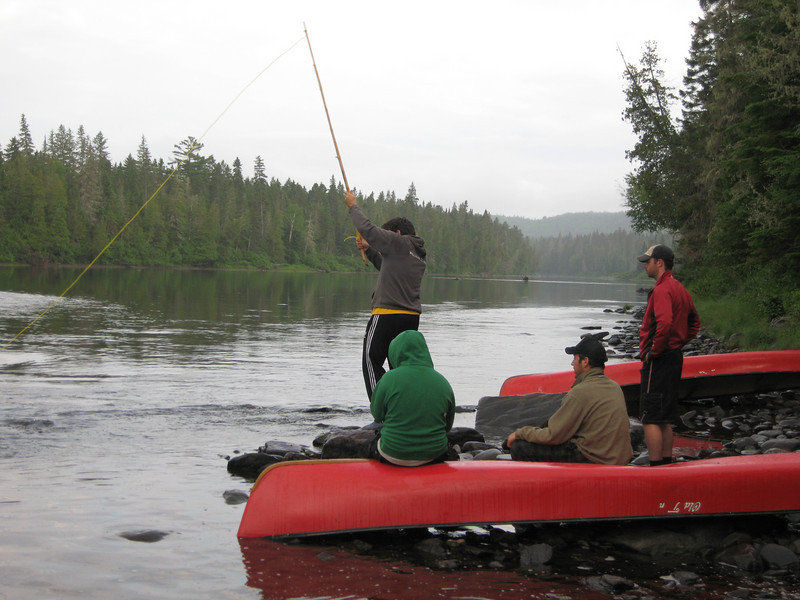 We camped one night right at a fast moving water pool, which looked like a great fishing spot.  Conveniently we left our poles behind about 4 nights before so our makeshift pole and rope combo would have to do.  Notice the moose wading in the river downstream.